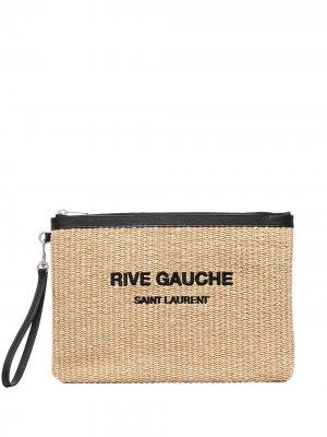 Клатч Rive Gauche из рафии Saint Laurent. Цвет: нейтральные цвета