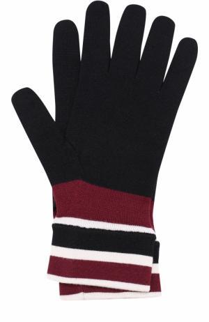 Шерстяные перчатки с контрастными манжетами Dolce & Gabbana. Цвет: черный