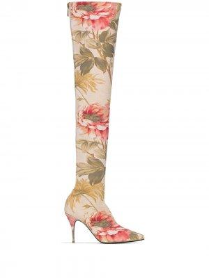 Ботфорты с цветочным узором Zimmermann. Цвет: розовый