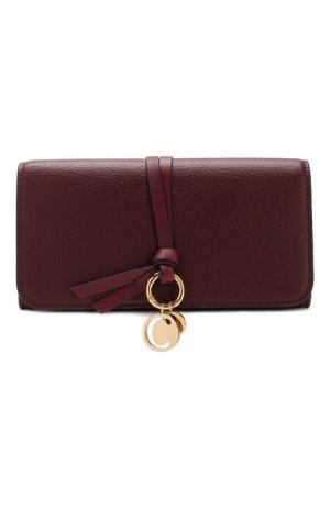 Кожаный кошелек Alphabet Chloé. Цвет: бордовый