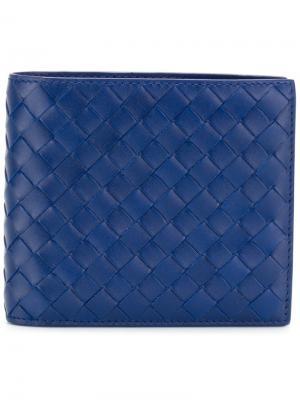 Плетеный кошелек Bottega Veneta. Цвет: синий