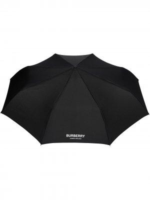 Зонт с логотипом Burberry. Цвет: черный