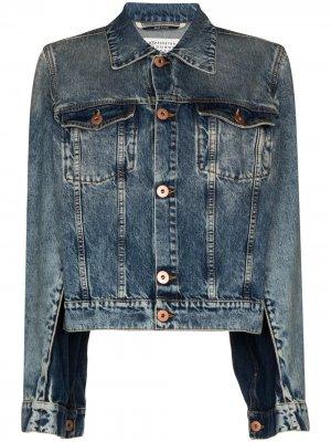 Джинсовая куртка с разрезами на рукавах Maison Margiela. Цвет: синий