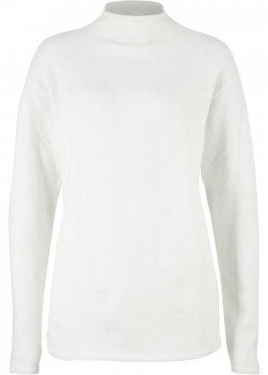 Пуловер с воротником-стойкой bonprix. Цвет: белый