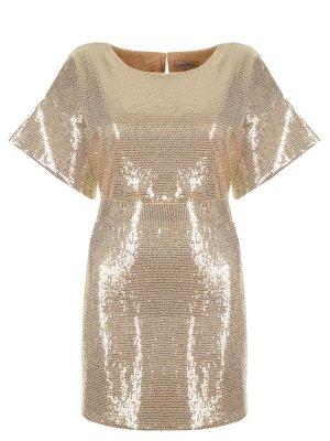 Платье-туника с пайетками A la Russe. Цвет: золотистый