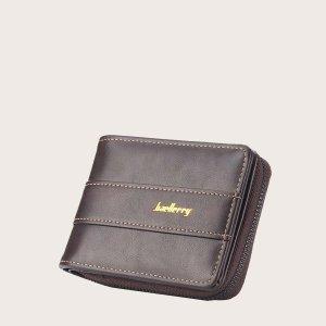 Маленький кошелек на молнии с текстовым рисунком для мужчин SHEIN. Цвет: шоколадно-коричневый