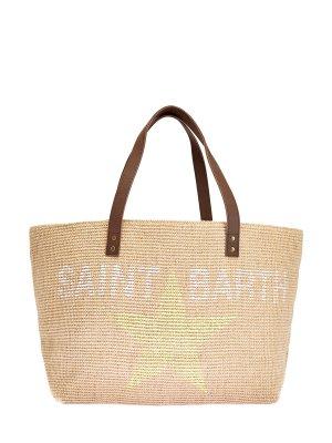 Пляжная сумка из джута с кожаной отделкой MC2 SAINT BARTH. Цвет: бежевый