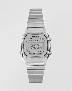 Серебристые цифровые часы в стиле унисекс с миниатюрным циферблатом -Серебристый Casio