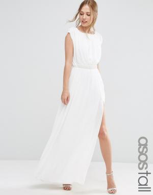 Платье макси с декоративной отделкой на поясе ASOS TALL. Цвет: белый