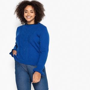 Пуловер с воротником-стойкой из тонкого трикотажа CASTALUNA. Цвет: бордовый,синий