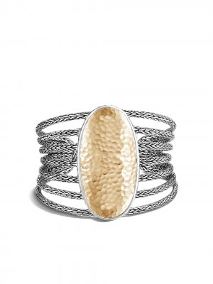 Фактурный браслет-кафф Classic Chain из серебра и желтого золота John Hardy. Цвет: серебристый