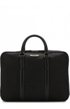 Текстильная сумка для ноутбука с кожаной отделкой и плечевым ремнем Ermenegildo Zegna. Цвет: чёрный