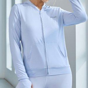 На молнии Одноцветный Спортивные куртки SHEIN. Цвет: нежно-голубой
