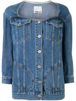 Джинсовая куртка без воротника Ground Zero. Цвет: синий