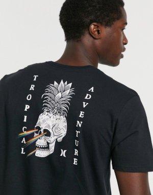 Черная футболка с принтом -Черный Hurley