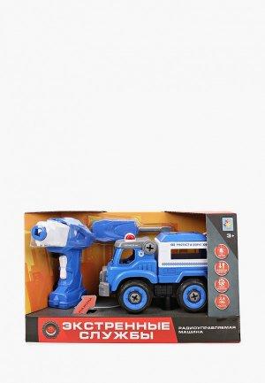 Игрушка радиоуправляемая 1Toy Экстренные службы полиц. грузовик на р/у. Цвет: синий