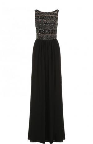 Приталенное платье-макси с декорированным лифом Basix Black Label. Цвет: черный