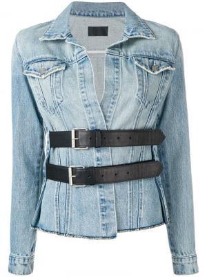 Джинсовая куртка с поясом Rta. Цвет: синий