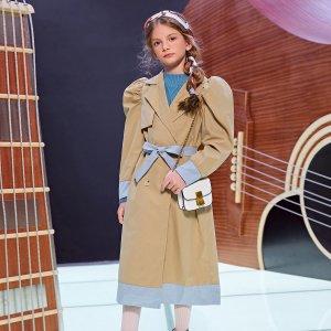Для девочек Пальто с лацканами поясом пышным рукавом SHEIN. Цвет: хаки