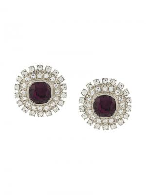 1970s Vintage Kenneth Lane18kt Gold Plated Silver Amethyst Crystal Earrings Jay Lane. Цвет: серебристый