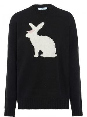 Джемпер с узором в виде кролика Prada. Цвет: черный