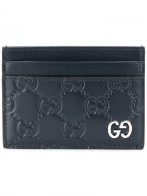 Кошелек для карт с логотипами Gucci. Цвет: синий