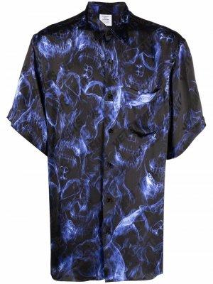 Рубашка с короткими рукавами и принтом VETEMENTS. Цвет: синий