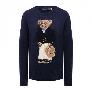Свитер из хлопка и льна Polo Ralph Lauren. Цвет: синий