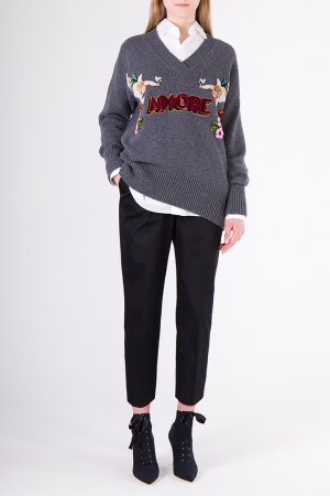 Кашемировый пуловер с декором Dolce&Gabbana. Цвет: серый