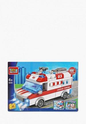 Конструктор Город Мастеров «Машина скорой помощи» с инерционным механизмом. Цвет: разноцветный