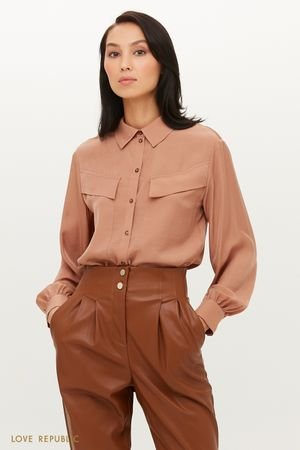 Шифоновая блузка с нагрудными карманами клапаном LOVE REPUBLIC