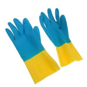 Перчатки хозяйственные латексные, плотные, размер l, 40 гр, цвет микс Доляна