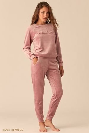 Мягкие домашние брюки велюровой текстуры LOVE REPUBLIC