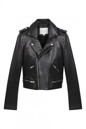 Черная кожаная куртка-косуха Maje. Цвет: черный