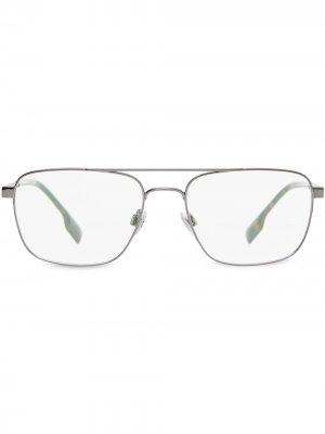 Очки в прямоугольной оправе Burberry Eyewear. Цвет: серый