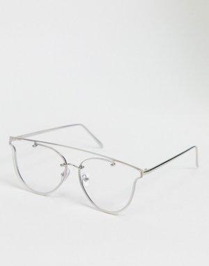 Круглые очки с серебристой оправой -Серебряный Jeepers Peepers
