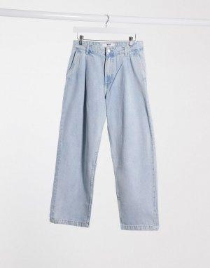 Широкие джинсы -Синий Bershka