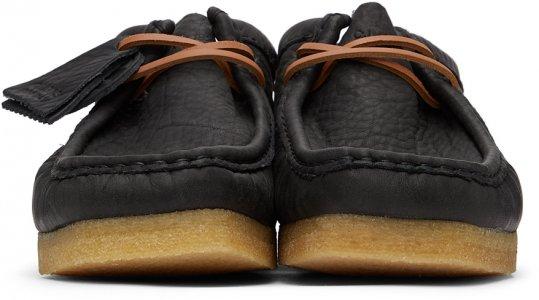 Black Leather Wallabee Derbys Clarks Originals. Цвет: black