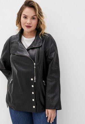 Куртка кожаная Le Monique. Цвет: черный