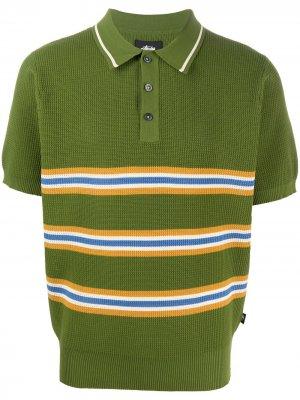 Рубашка поло в полоску Stussy. Цвет: зеленый