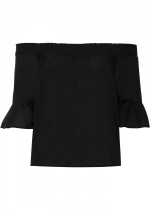 Блузка кармен bonprix. Цвет: черный