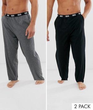Набор из 2 пижамных брюк для дома черного и темно-серого меланжевого цветов с поясом названием бренда -Многоцветный ASOS DESIGN