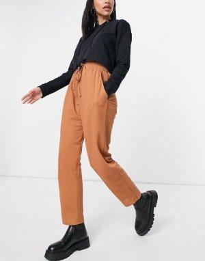 Брюки-галифе из ткани с фактурой льна рыжего цвета -Оранжевый цвет ASOS DESIGN