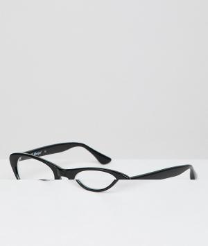 Очки в черной оправе кошачий глаз с прозрачными стеклами AJ Morgan. Цвет: черный