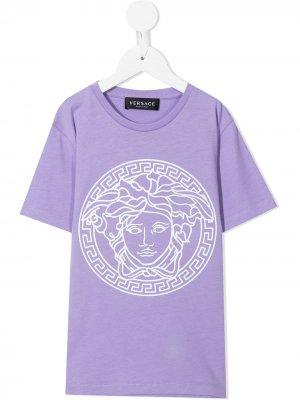 Футболка с логотипом Versace Kids. Цвет: фиолетовый