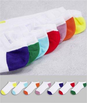 Набор из 7 пар летних спортивных носков базовых цветов -Белый ASOS DESIGN