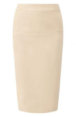 Кожаная юбка-карандаш Tom Ford. Цвет: бежевый