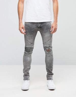 Облегающие байкерские джинсы с заплатками на коленях -Серый Religion
