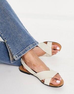 Белые кожаные сандалии с ремешком на щиколотке Tia-Белый Vagabond