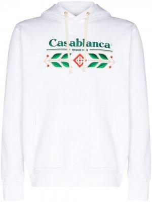 Худи Laurel из органического хлопка с вышитым логотипом Casablanca. Цвет: белый
